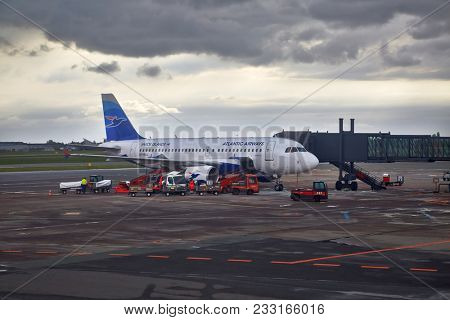 COPENHAGEN, DENMARK - MAY 13: Atlantic Airways A319 at Kastrup Airport, May 12th 2015. Atlantic Airways is the airline of the Faroe Islands