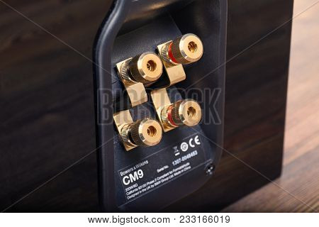 BUDAPEST, HUNGARY - MARCH 27, 2018: Bowers and Wilkins CM9 S2 high quality hifi speaker wire terminal for bi-wiring. Bowers and Wilkins is a prominent British audio manufacturer