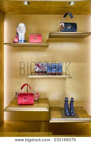MILAN, ITALY - CIRCA NOVEMBER, 2017: Fendi bags on display at Rinascente. Rinascente is a collection of high-end stores.