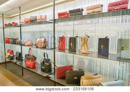 MILAN, ITALY - CIRCA NOVEMBER, 2017: Valentino bags on display at Rinascente. Rinascente is a collection of high-end stores.