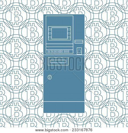 Stylized Icon Of A Colored Automatic Teller Machine Or Atm On A Bitcoins Background.