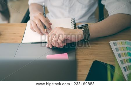 Businessman Using Smartphone While Working At Office.new Technology Concept