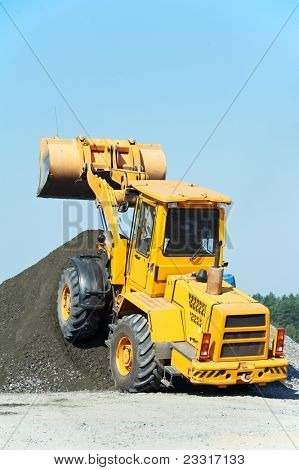 heavy construction loader bulldozer at construction area