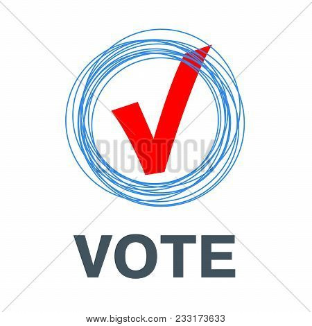 Voting Symbols Vector Design. Template Elections Icons. Check Marks. Vector Red Vote Label. Poll Ico
