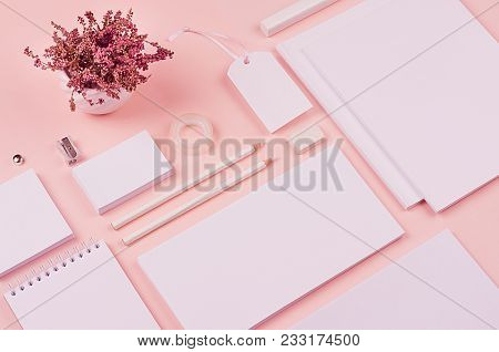 Pastel Soft Pink Stylish Working Space With Dry Flowers Lavender And Blank Notepad, Letterhead, Busi