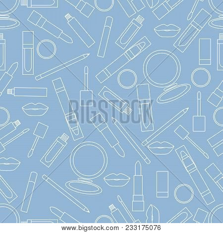 Seamless Pattern Of Different Lip Make-up Tools. Vector Illustration Of Lipsticks, Mirror, Lip Liner