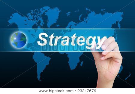 the women hand writing strategy and world poster