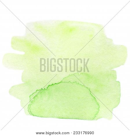 Wet Watercolor Stain.  Abstract Yellow  Green Watercolor Background. Spring Or Summer Concept