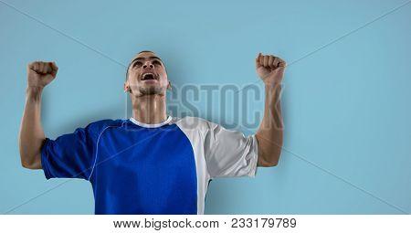 Digital composite of soccer player celebration, blue background