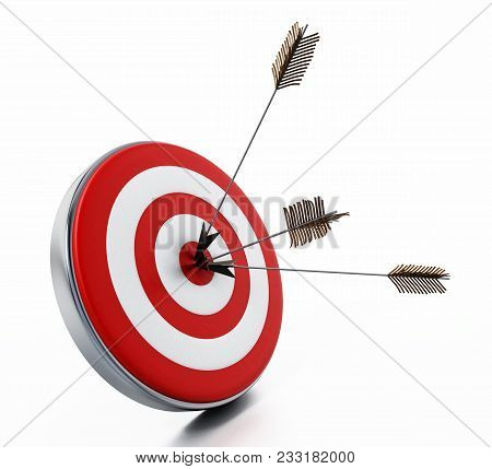 Arrows Hit Right On Target Bullseye. 3d Illustration.