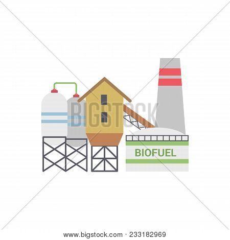 Bio Fuel Energy Factory, Bio Fuel Power Plant With Diesel Generator. Isolated On White Background. T