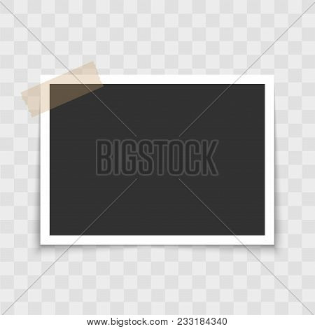 Photo Frame With Sticky Tape On Transparent Background. Vector
