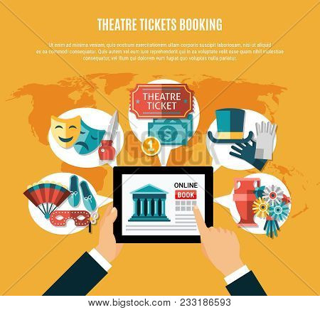 Theatre Flat Composition Set With Theatre Ticket Booking Headline And Mans Hands Using Laptop Vector