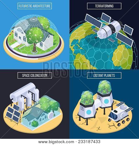 Space Colonization Terraforming Isometric 2x2 Design Concept With Conceptual Images Of Space Vehicle