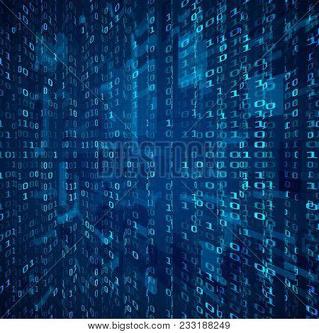 Stream Of Binary Code. Abstract Digital Binary Matrix Number Technology Futuristic Concept Backgroun