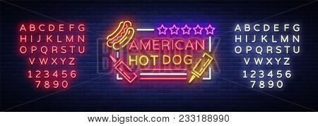 Hot Dog Logo In Neon Style Design Template. Hot Dog Neon Signs, Light Banner, Neon Symbol Fast Food
