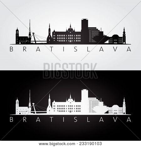 Bratislava Skyline And Landmarks Silhouette, Black And White Design, Vector Illustration.