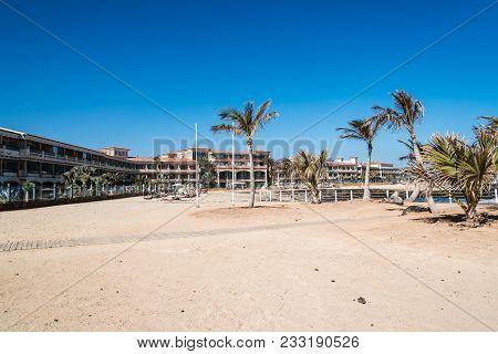 Corralejo, Fuerteventura, Canary Islands, Spain - February 17, 2018: Luxury Restaurant In The Beach