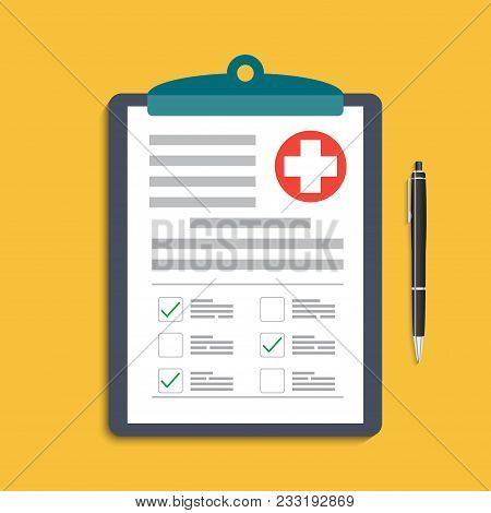Clipboard With Medical Cross And Pen. Clinical Record, Prescription, Claim, Medical Check Marks Repo