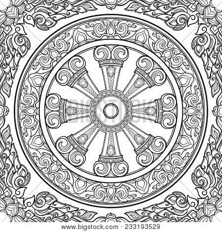 Dharma Wheel, Dharmachakra. Symbol Of Buddha's Teachings On The Path To Enlightenment, Liberation Fr