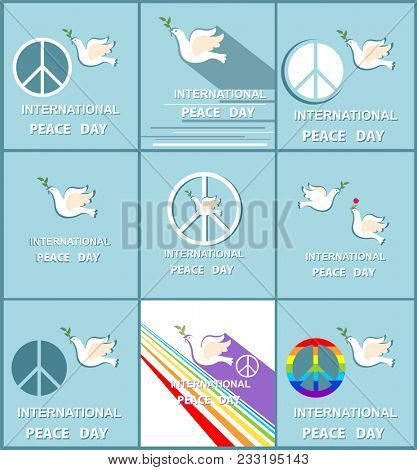 Greeting pastel blue cards with paper cut out doves, peace symbol and rainbow for International Peace day. Flat design