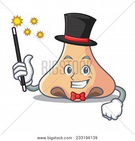 Magician Nose Mascot Cartoon Style Vector Illustartion