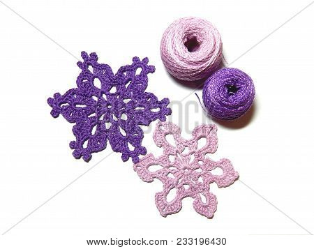 Crochet For Design Of Fir Tree Or Interior. Pink And Purple Yarn For Crocheting Christmas Decoration