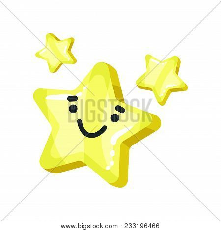 Yellow Bright Glossy Smiling Star Mascot Cartoon Vector Illustration Isolated On A White Background.