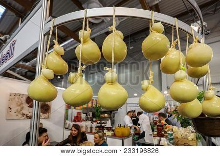 Cracow, Poland - November 16, 2017: Scamorza Cheese Hunged Exposed At Gastrofood - Trade Fair For Fo