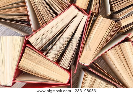 Mass Of Old Books. Used Hardback Books. View From Above. Education Background