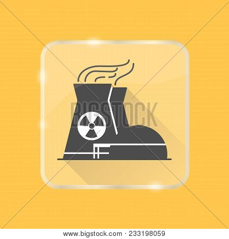 Nuclear Power Plant Silhouette Icon With Long Shadow In Flat Style On Transparent Button. Non-renewa