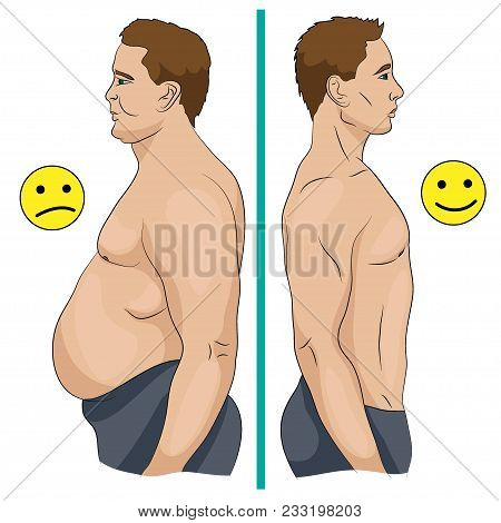 Comparison Of A Man With Obesity And Slim Man As A Result Of Diet Or Training.