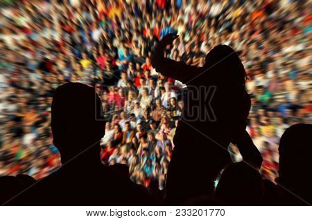 Silhouette Of Supporters. Blurred, Defocused Crowd Of Spectators On A Stadium Tribune At A Baseball