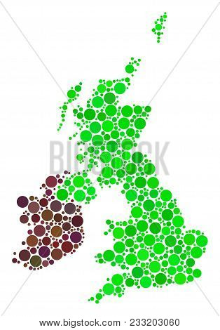 Great Britain And Ireland Map Mosaic Of Dots In Different Sizes And Color Tones. Round Dots Are Comp