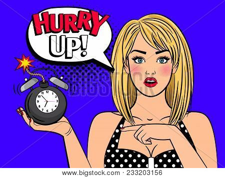 Alarmed Retro Girl. Beautiful Pop Art Woman Face With No Time Alarm Bomb Clock For Sell Out And Clos