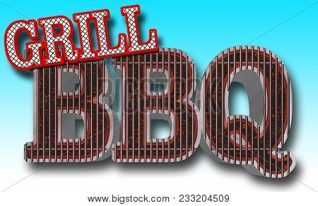 Stock Illustration - Bbq Grill Bright Red Text Grill Text Bbq In The Shape Of The Grill, Big Glowing