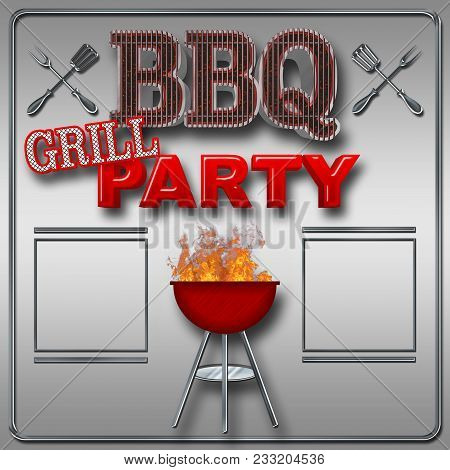 Stock Illustration - Bbq Grill Party, Bright Red Text, Text Bbq In The Shape Of The Grill, Big Glowi