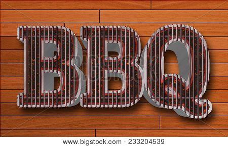 Stock Illustration - Bbq , Big Glowing Coals Bbq, 3d Illustration, Wood Board Background.