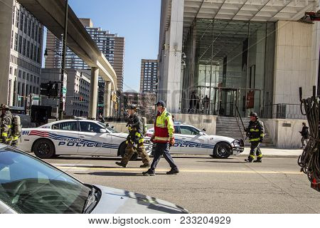 Detroit, Michigan, Usa - March 22, 2018: Firefighters And Police Responding To A Call In The, Downto