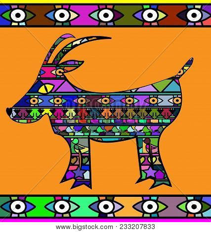 Abstract Colored Background Image Of Goat Consisting Of Lines And Figures
