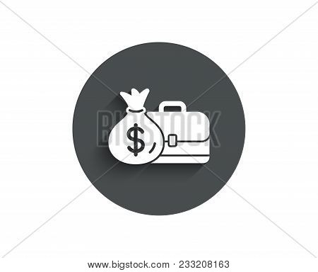 Business Case Simple Icon. Portfolio And Salary Symbol. Diplomat With Money Bag Sign. Circle Flat Bu