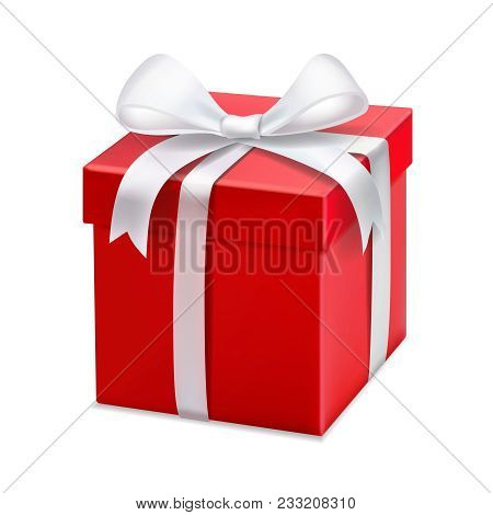 Red Gift Box With White Ribbon And Bow. Vector 3d Illustration.