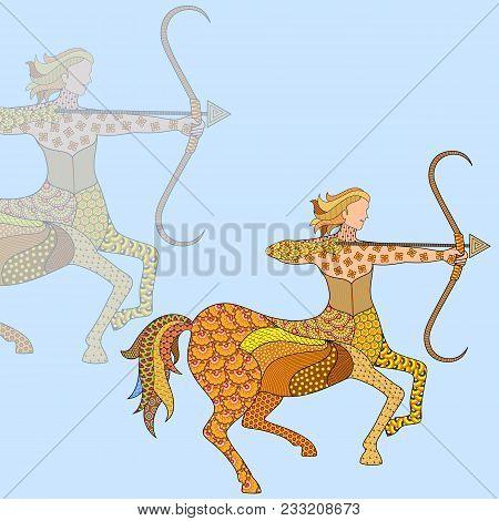 Vector Illustration Of Sagittarius Astrological Zodiac Sign