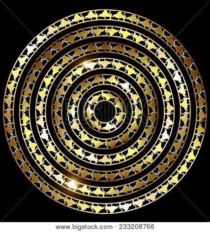 Dark Background And Abstract Colored Image Of Circle Consisting Of Lines And Figures Of Bulls