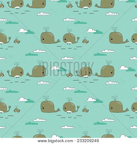 Sea Seamless Pattern With Whales. Underwater World, Ocean Creatures. Vector Background. Can Be Used