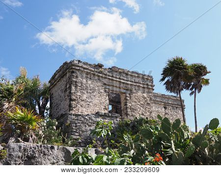 Ancient Ruins Of Stony Building With Window At Tulum Mayan City In Mexico, Large Archaeological Site