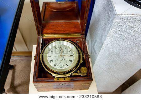 Sevastopol, Russia - March 19, 2011: Old Marine Chronometer In Sevastopol Museum. National Museum Of
