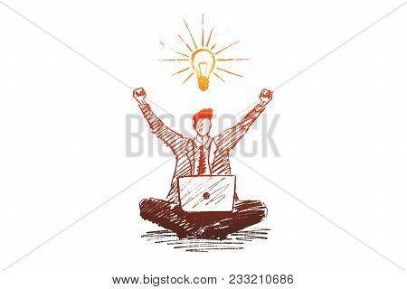 Vector Hand Drawn Good Ideas Concept Sketch. Business Man Sitting On Floor With Laptop And Exulting