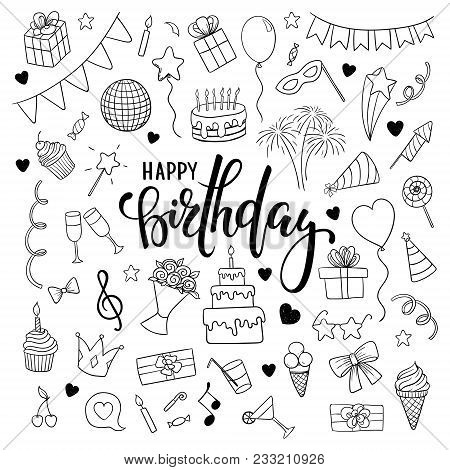 Big Set Of Hand Drawn Doodle Cartoon Objects And Symbols On The Birthday Party. Hand Drawn Brush Pen