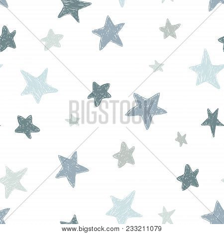 Vector Kids Pattern With Doodle Textured Stars. Vector Seamless Background, Black, Gray, White, Scan